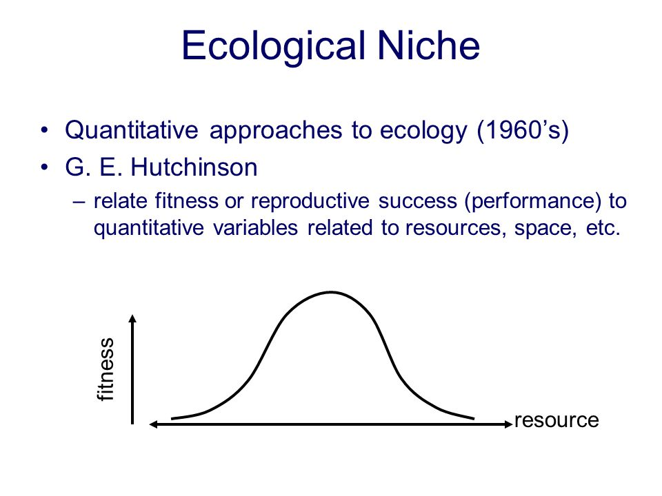 Ecological Niche Quantitative approaches to ecology (1960's)