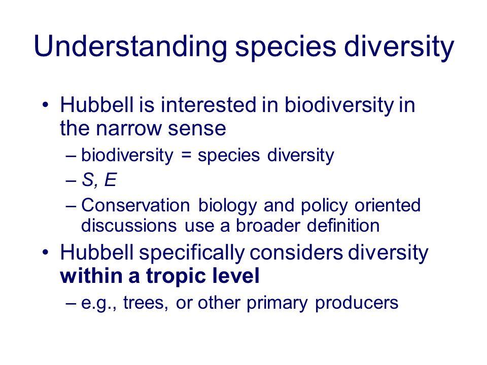 Understanding species diversity