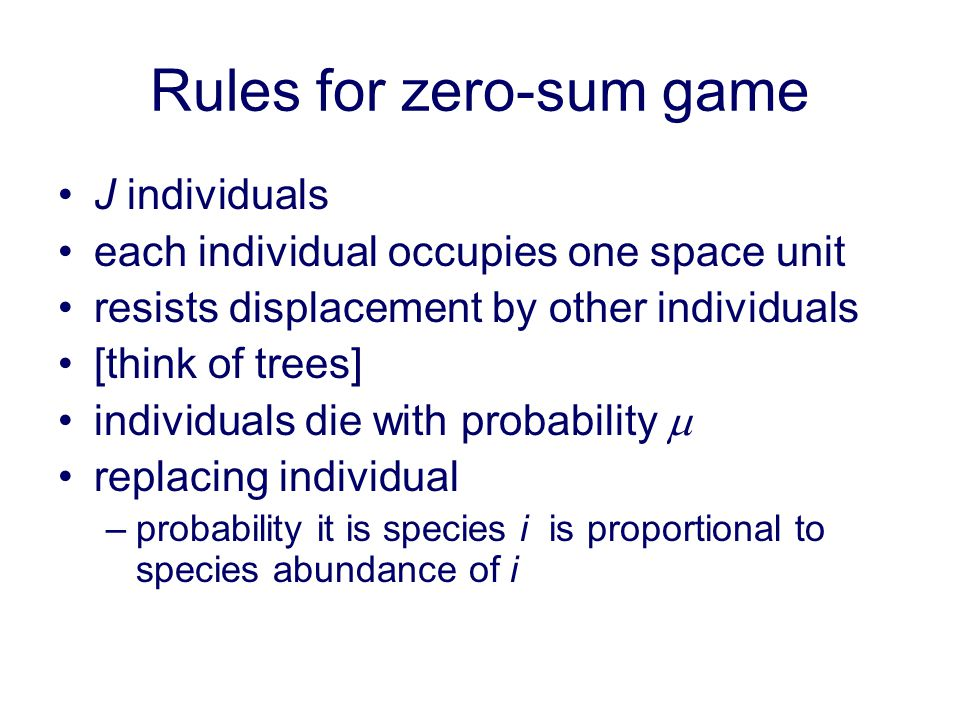 Rules for zero-sum game