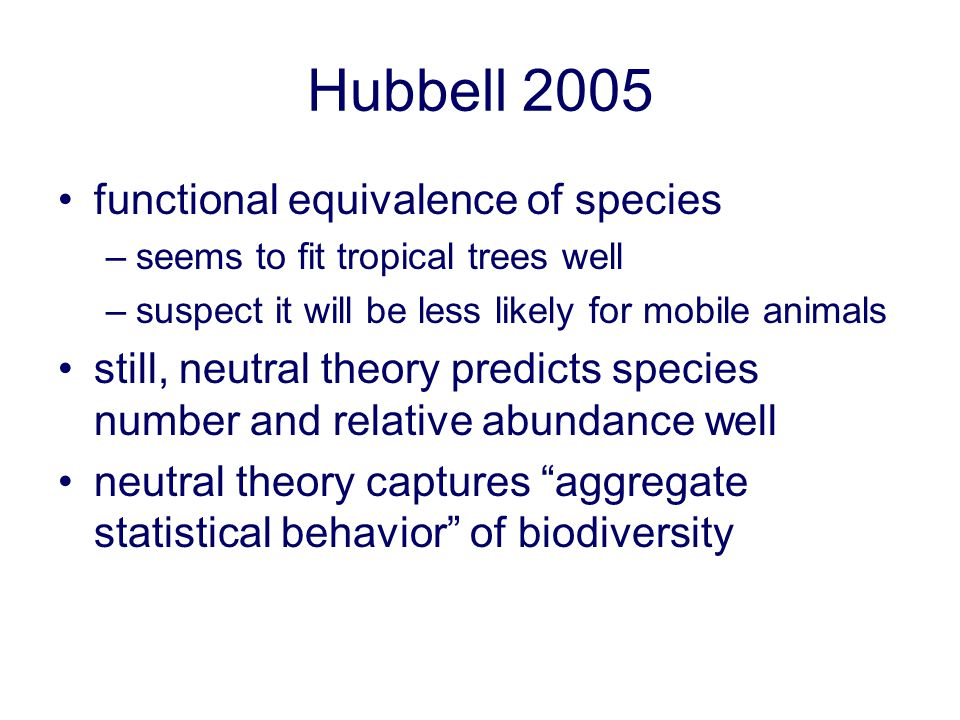 Hubbell 2005 functional equivalence of species