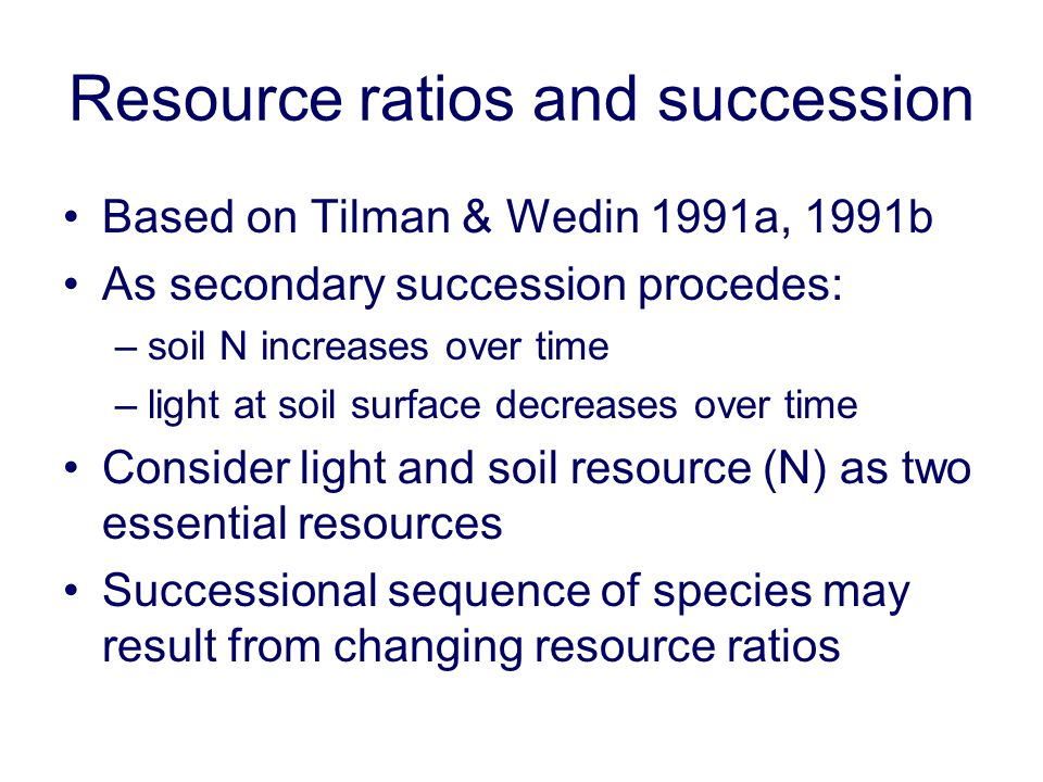 Resource ratios and succession