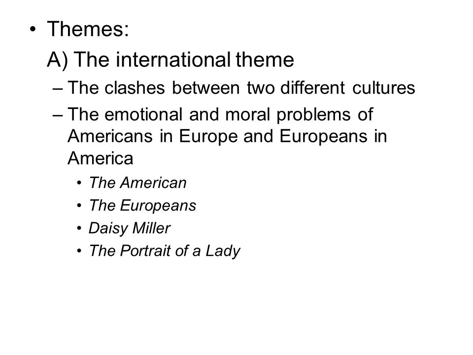 A) The international theme