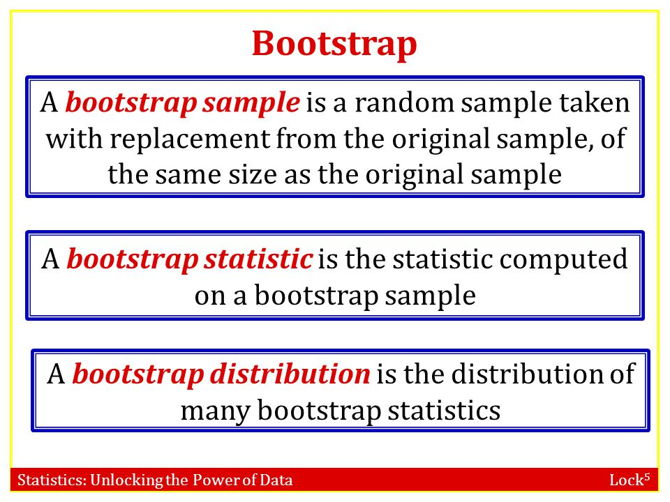 A bootstrap statistic is the statistic computed on a bootstrap sample