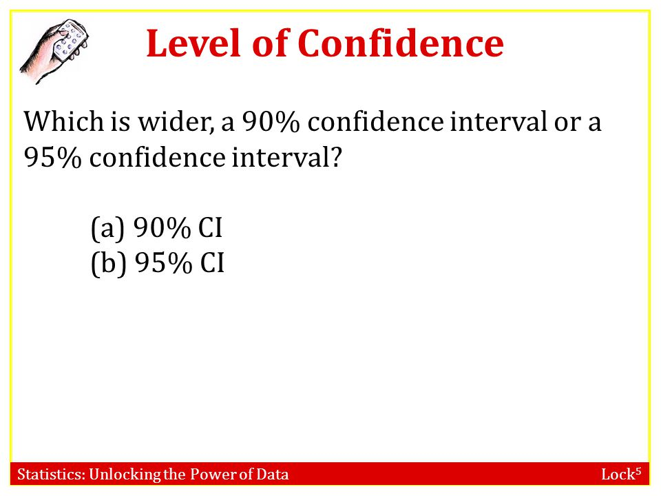 Level of Confidence Which is wider, a 90% confidence interval or a 95% confidence interval (a) 90% CI.