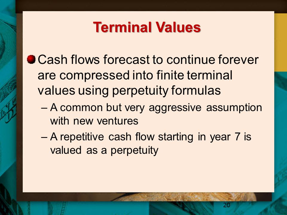 Terminal Values Cash flows forecast to continue forever are compressed into finite terminal values using perpetuity formulas.