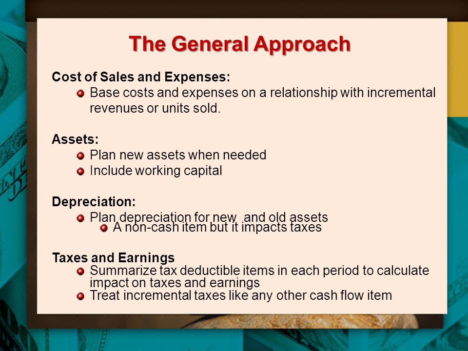 The General Approach Cost of Sales and Expenses: