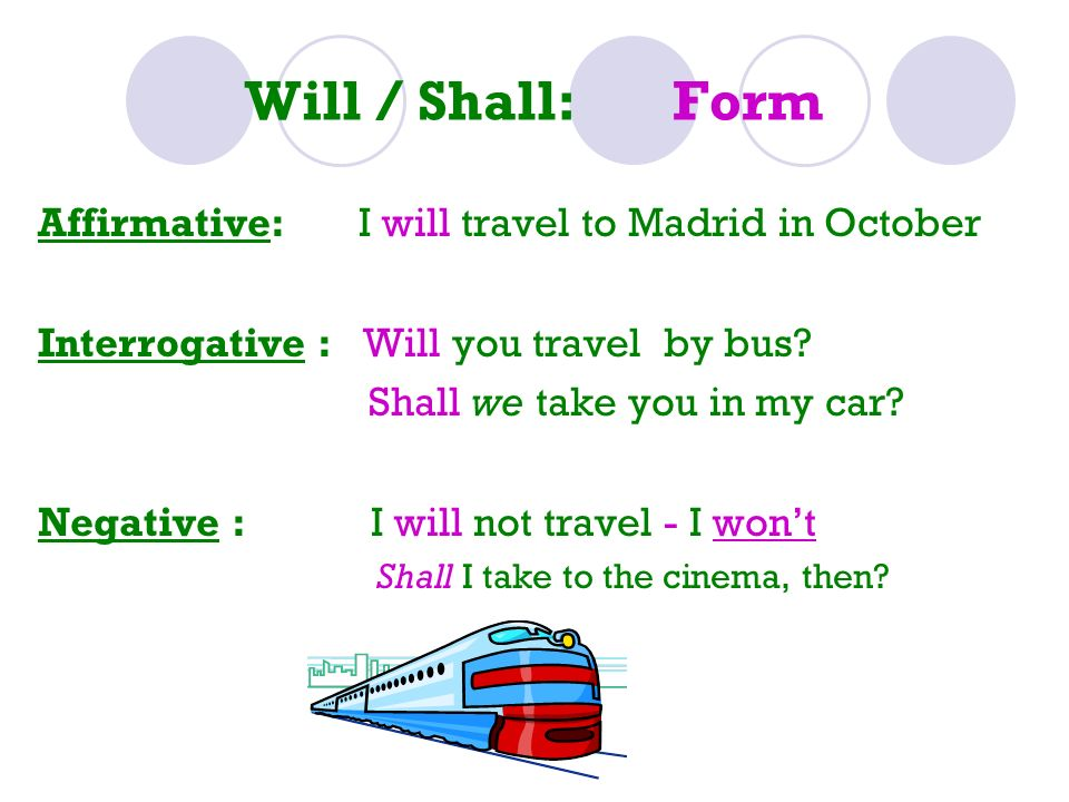 Will / Shall: Form Affirmative: I will travel to Madrid in October
