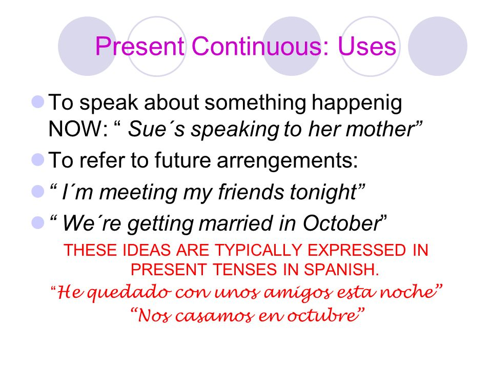 Present Continuous: Uses
