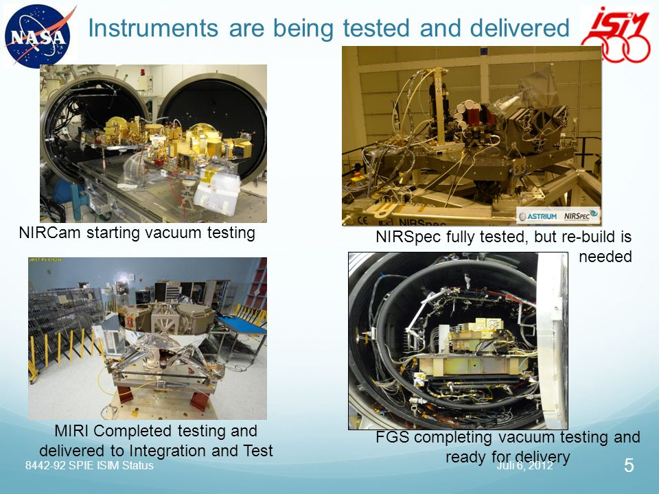 Instruments are being tested and delivered