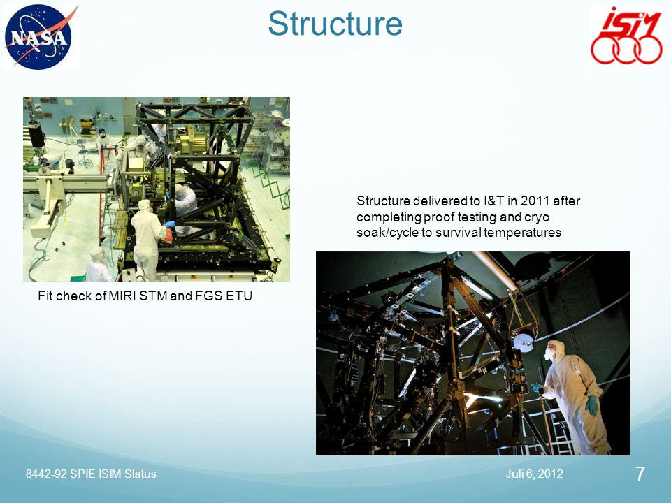 Structure Structure delivered to I&T in 2011 after completing proof testing and cryo soak/cycle to survival temperatures.
