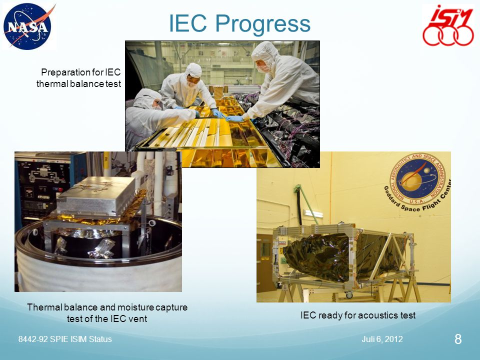 IEC Progress Preparation for IEC thermal balance test