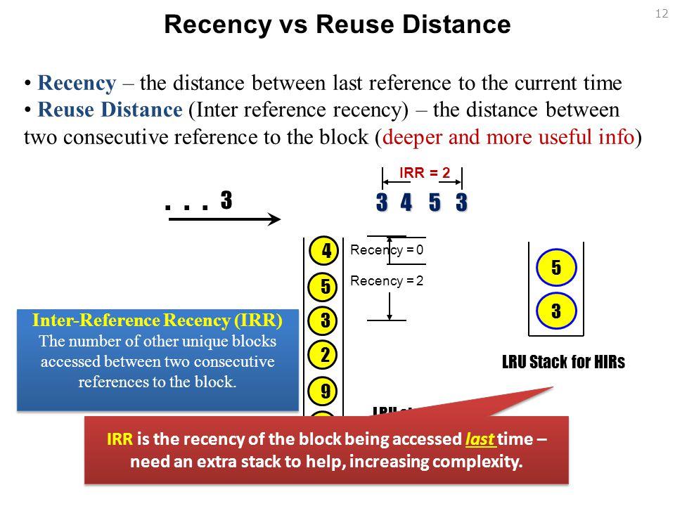 Recency vs Reuse Distance