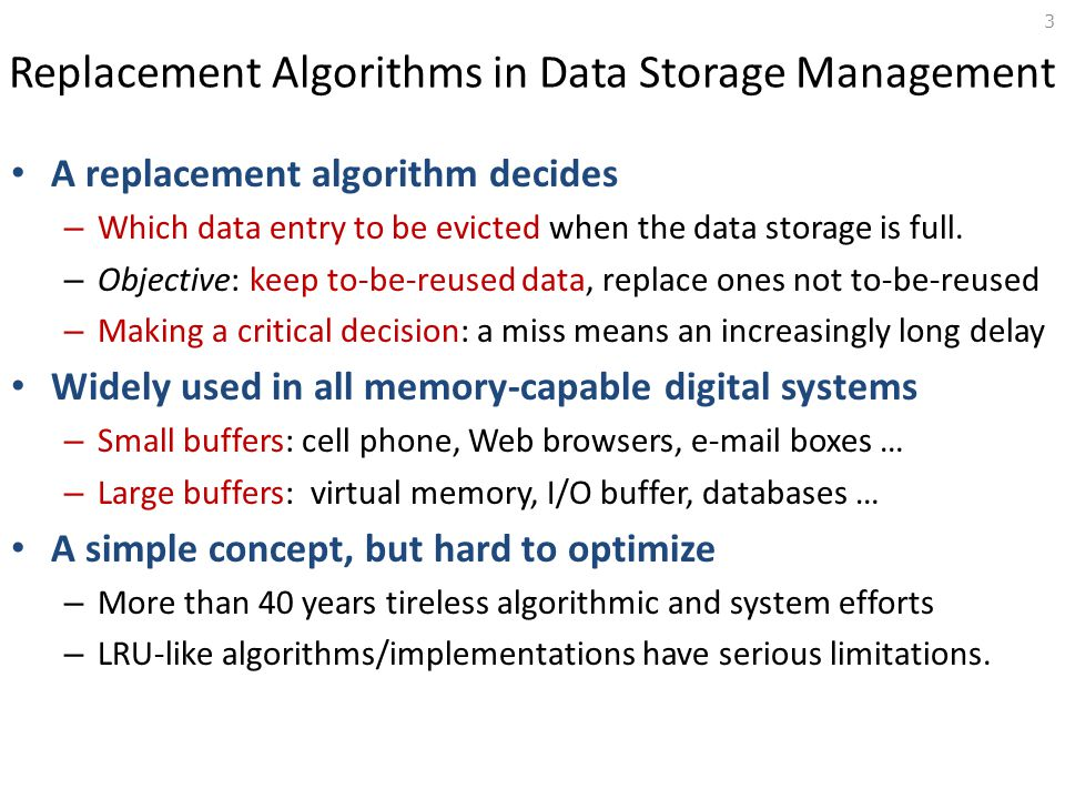 Replacement Algorithms in Data Storage Management