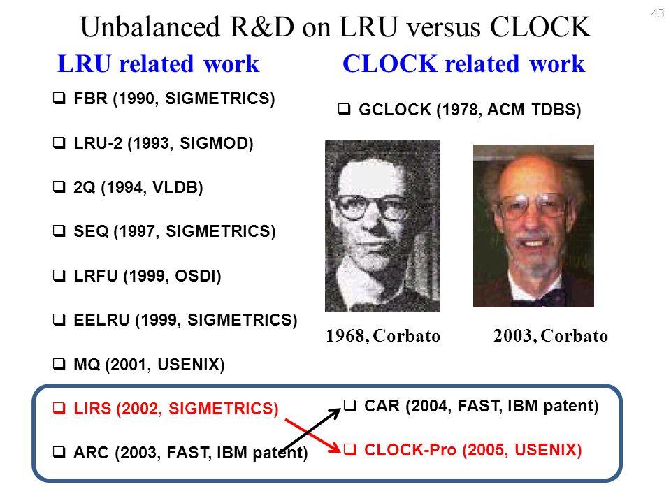Unbalanced R&D on LRU versus CLOCK