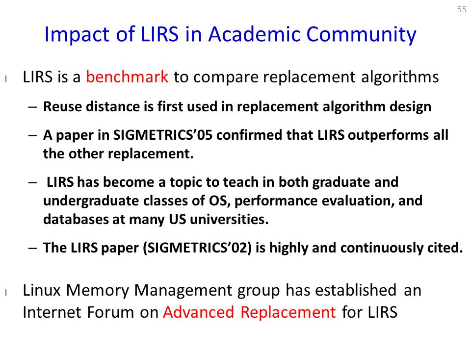 Impact of LIRS in Academic Community