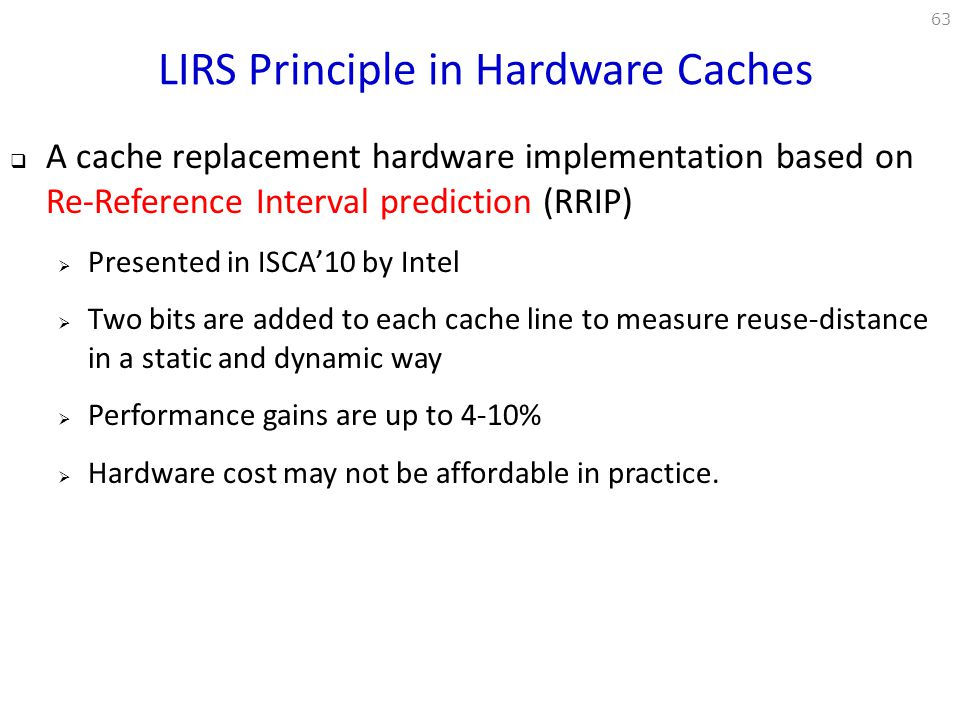 LIRS Principle in Hardware Caches