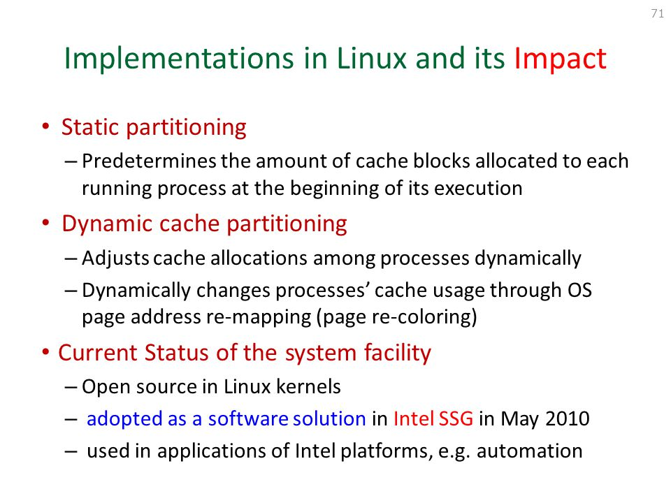 Implementations in Linux and its Impact