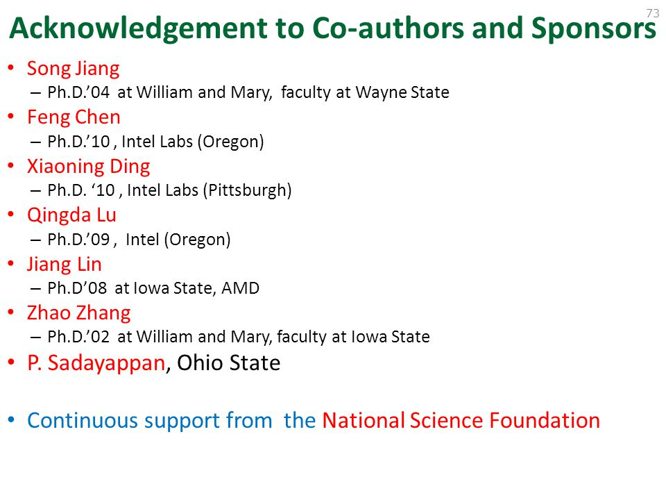 Acknowledgement to Co-authors and Sponsors