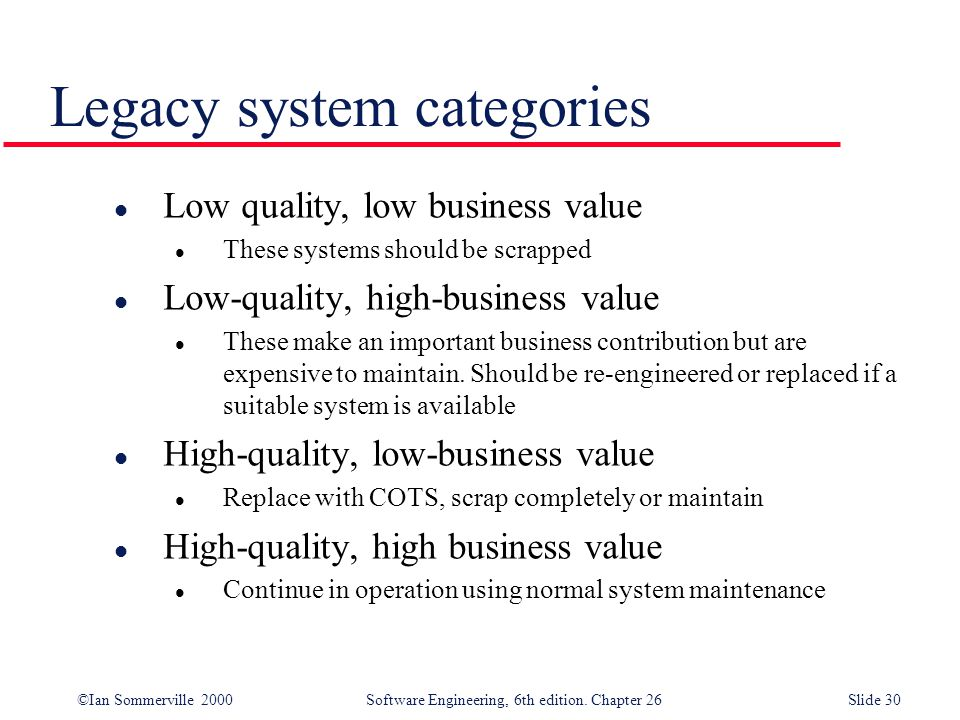 Legacy system categories