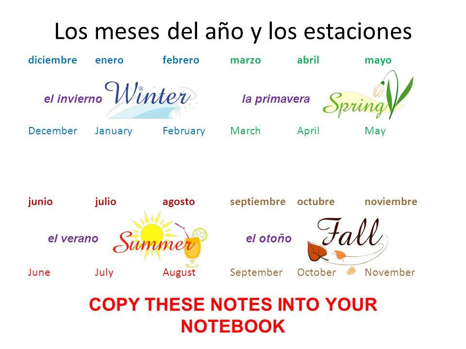 Los meses del año y los estaciones