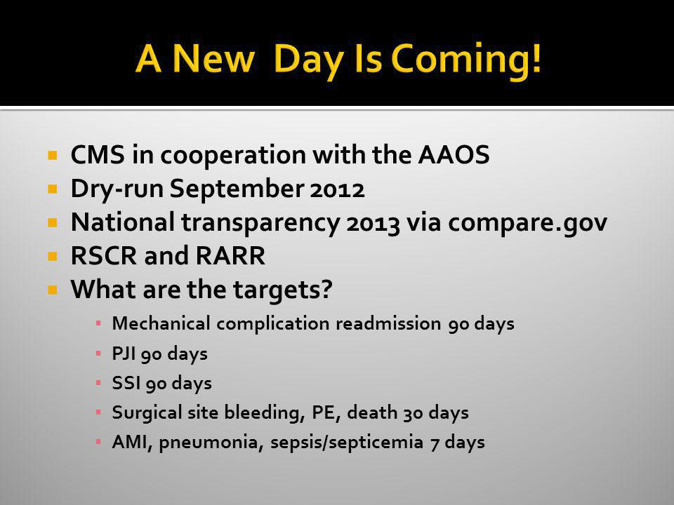 A New Day Is Coming! CMS in cooperation with the AAOS