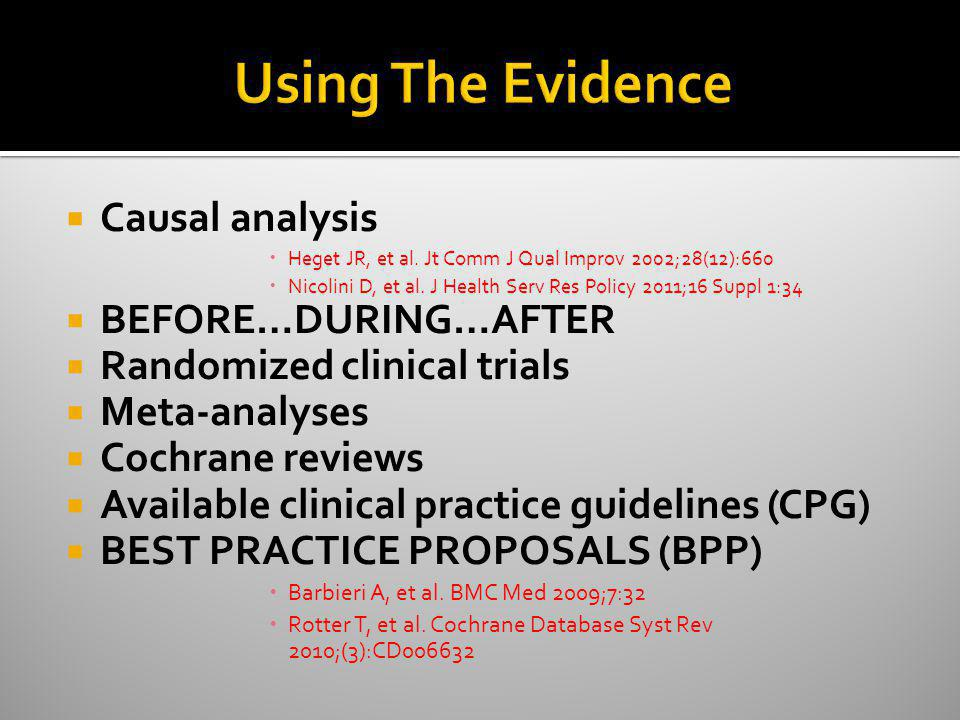 Using The Evidence Causal analysis BEFORE…DURING…AFTER