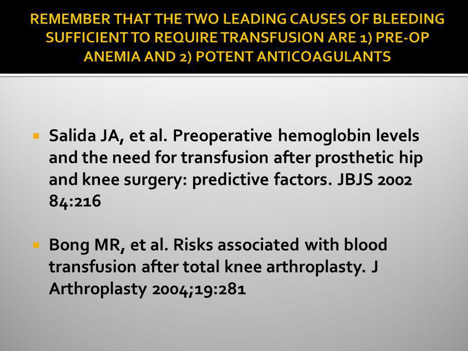 REMEMBER THAT THE TWO LEADING CAUSES OF BLEEDING SUFFICIENT TO REQUIRE TRANSFUSION ARE 1) PRE-OP ANEMIA AND 2) POTENT ANTICOAGULANTS