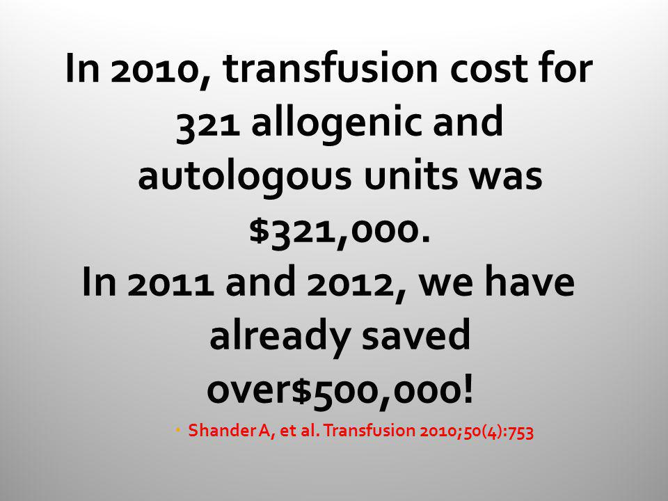 In 2011 and 2012, we have already saved over$500,000!