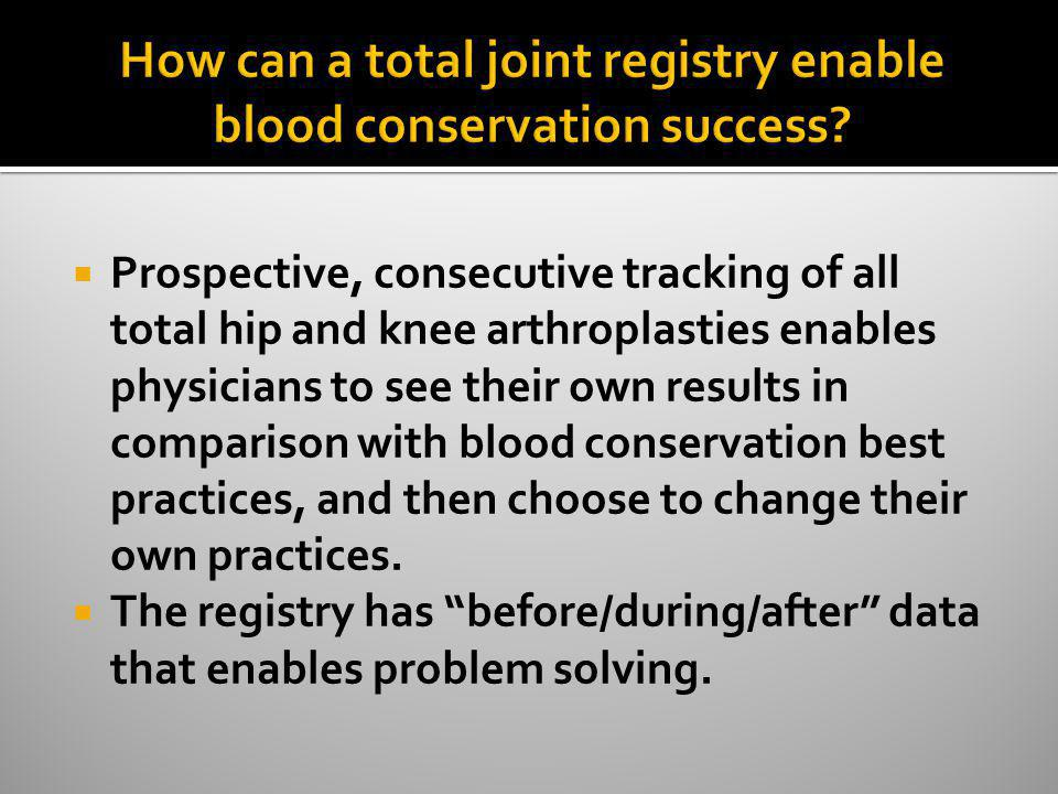How can a total joint registry enable blood conservation success