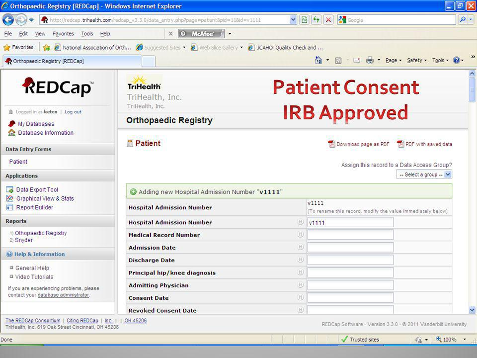 Patient Consent IRB Approved