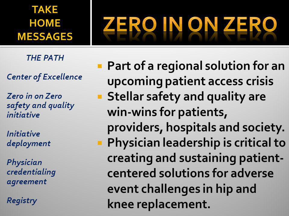 ZERO in on zero TAKE HOME MESSAGES. THE PATH. Center of Excellence. Zero in on Zero safety and quality initiative.