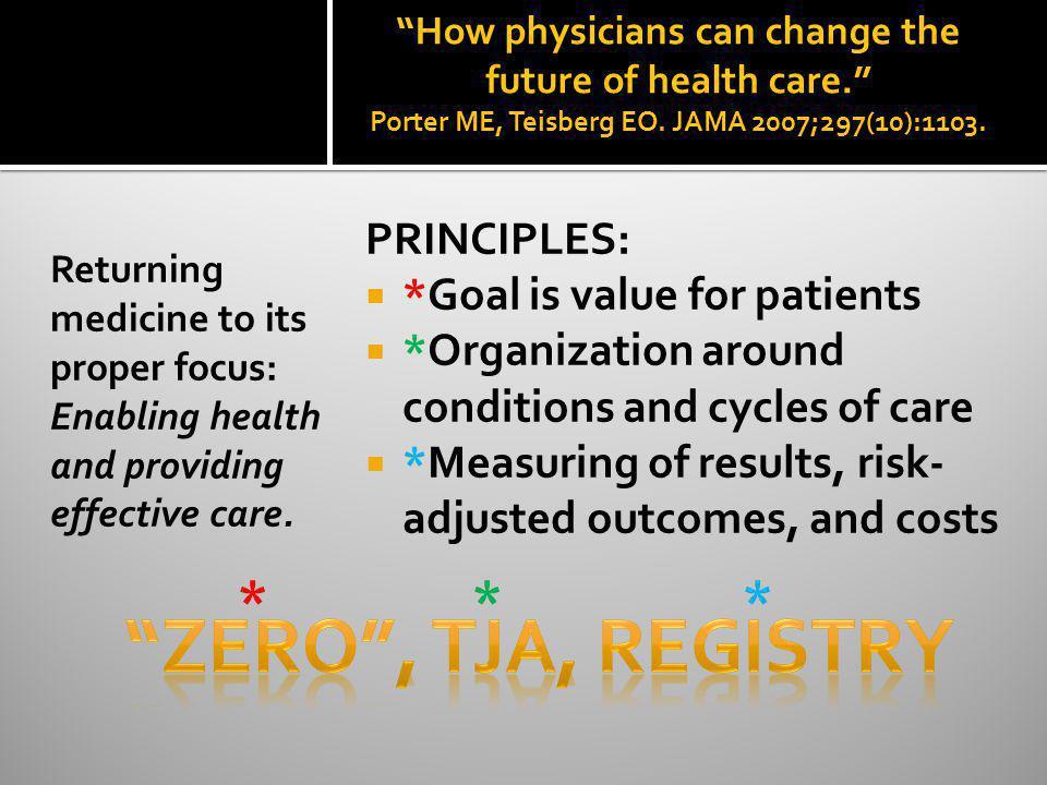 ZERO , TJA, registry * * * PRINCIPLES: *Goal is value for patients