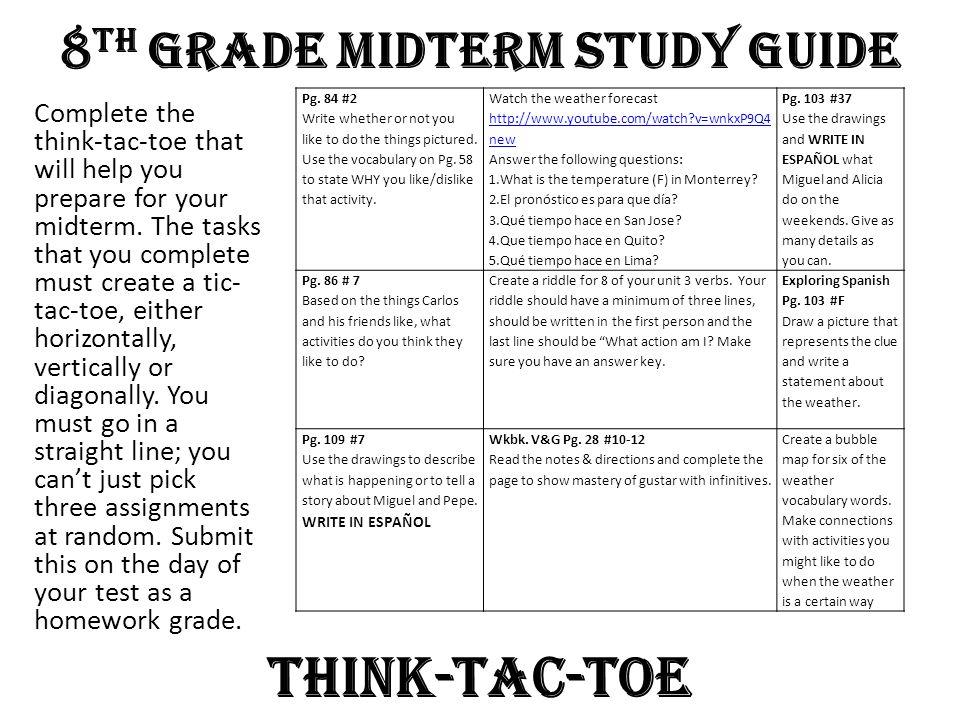 8th Grade Midterm Study Guide
