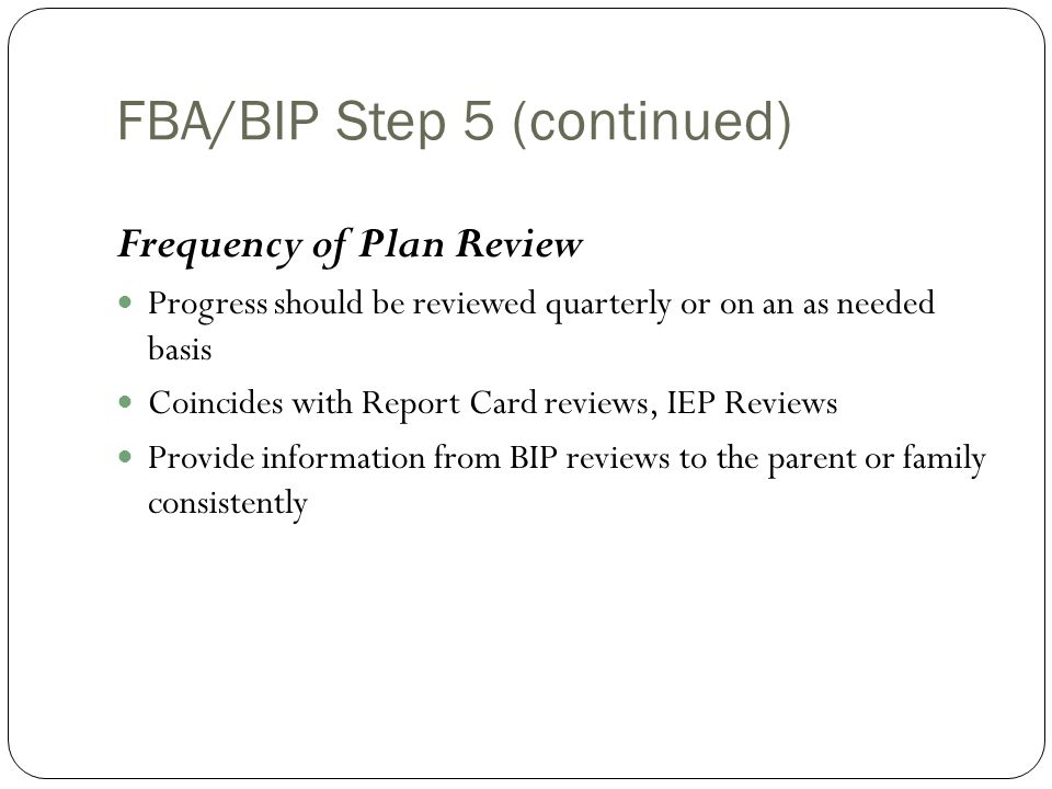 FBA/BIP Step 5 (continued)