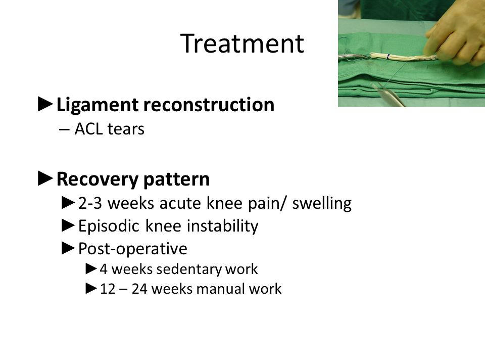Treatment Ligament reconstruction Recovery pattern ACL tears