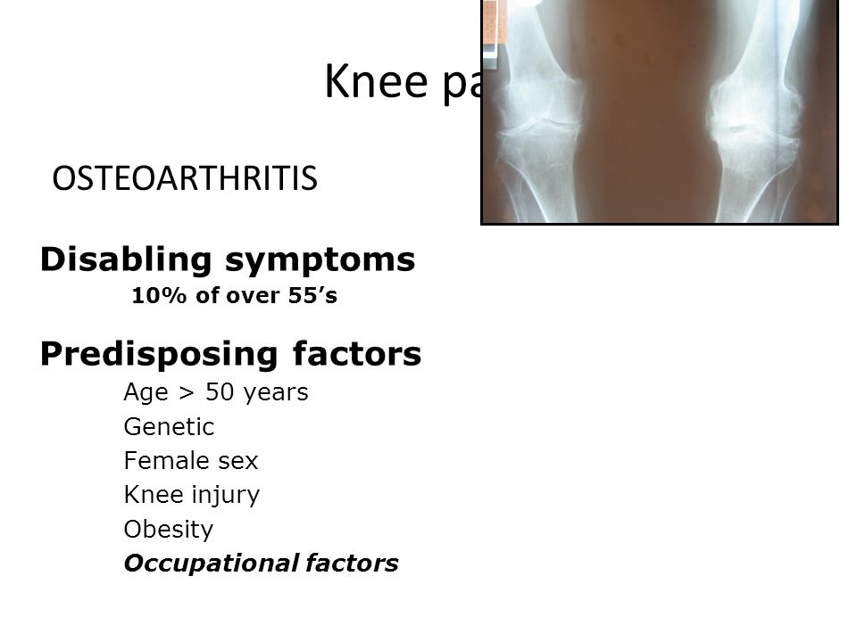 Knee pain OSTEOARTHRITIS Disabling symptoms Predisposing factors