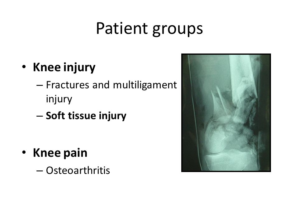 Patient groups Knee injury Knee pain