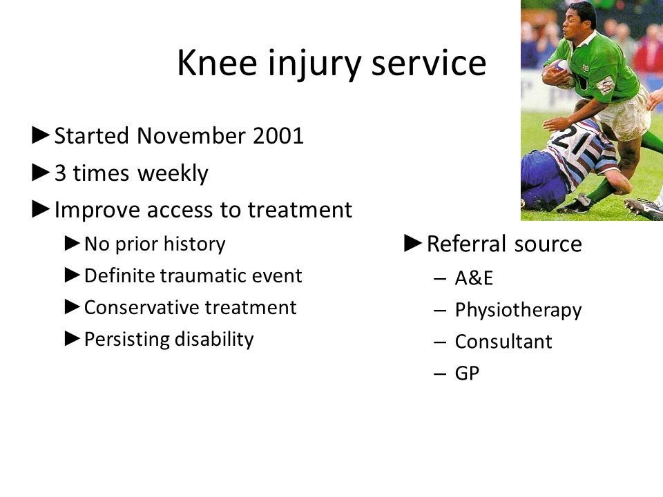 Knee injury service Started November 2001 3 times weekly