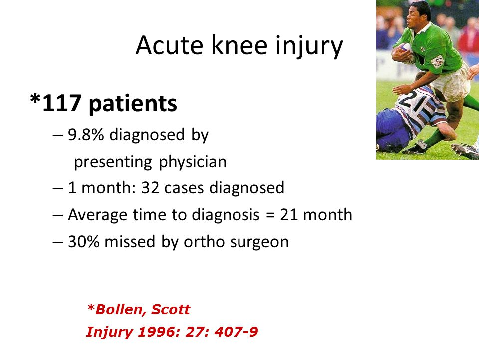 Acute knee injury *117 patients 9.8% diagnosed by presenting physician
