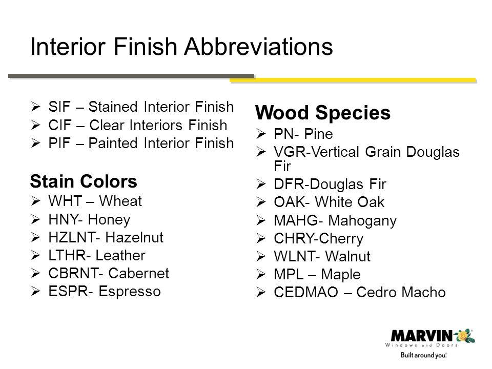 Interior Finish Abbreviations