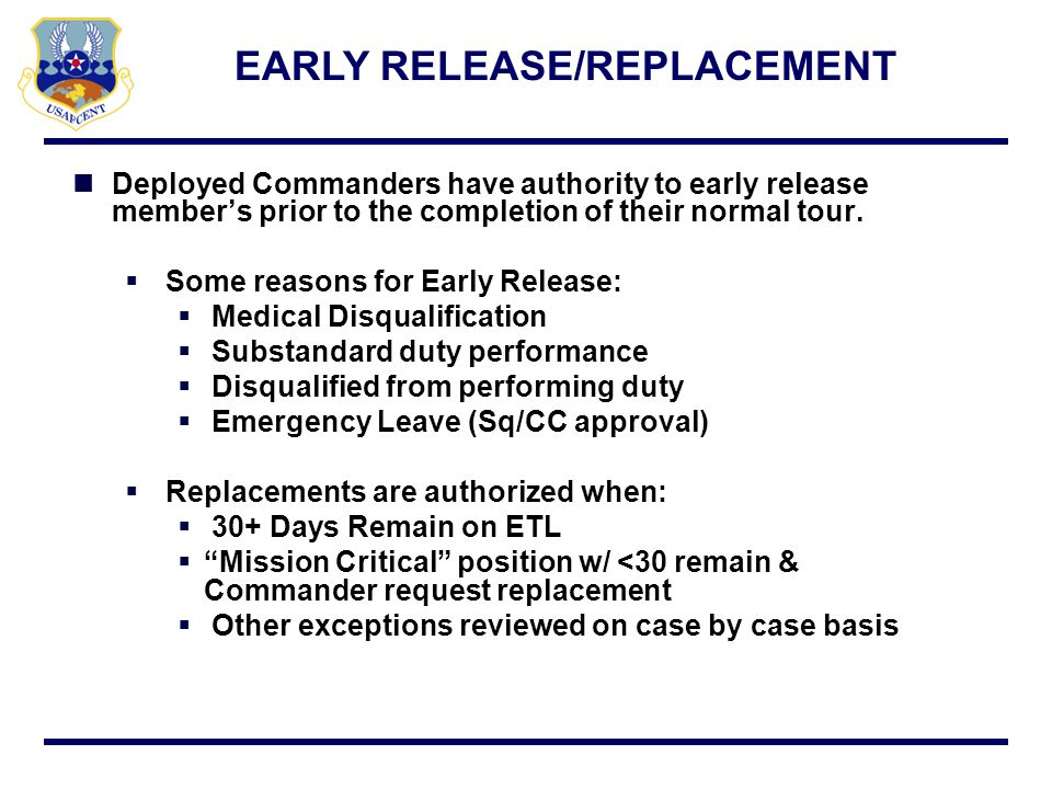 EARLY RELEASE/REPLACEMENT
