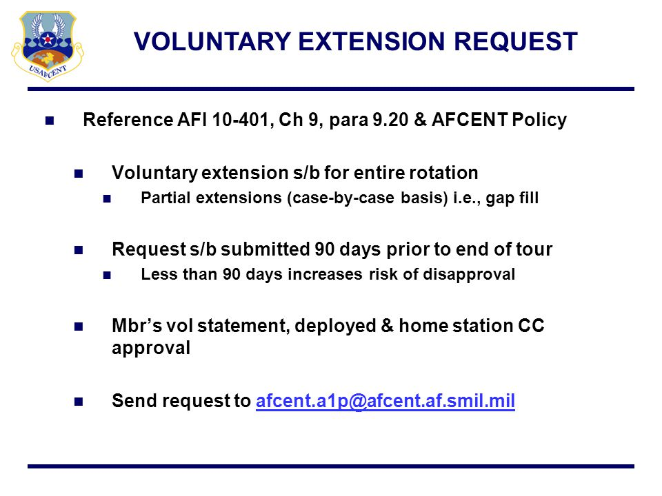 VOLUNTARY EXTENSION REQUEST