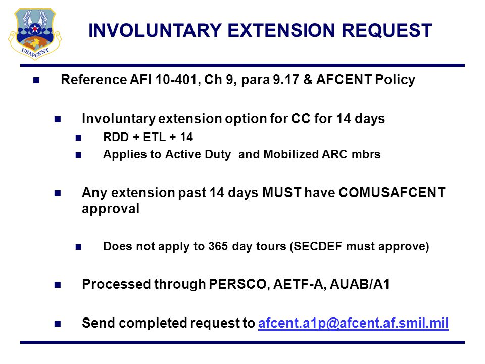 INVOLUNTARY EXTENSION REQUEST