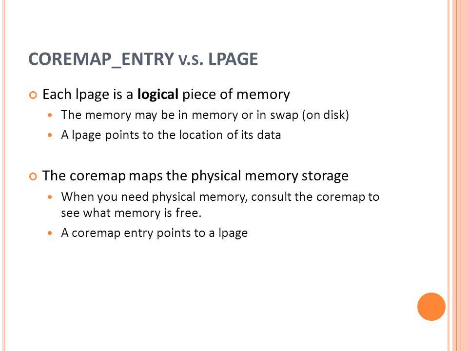COREMAP_ENTRY v.s. LPAGE