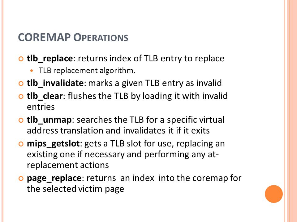 COREMAP Operations tlb_replace: returns index of TLB entry to replace