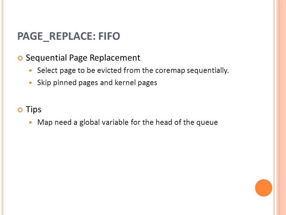 PAGE_REPLACE: FIFO Sequential Page Replacement Tips