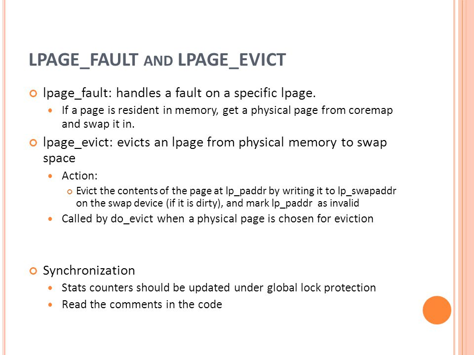 LPAGE_FAULT and LPAGE_EVICT