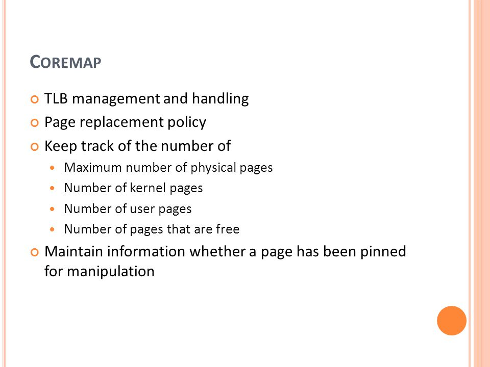 Coremap TLB management and handling Page replacement policy
