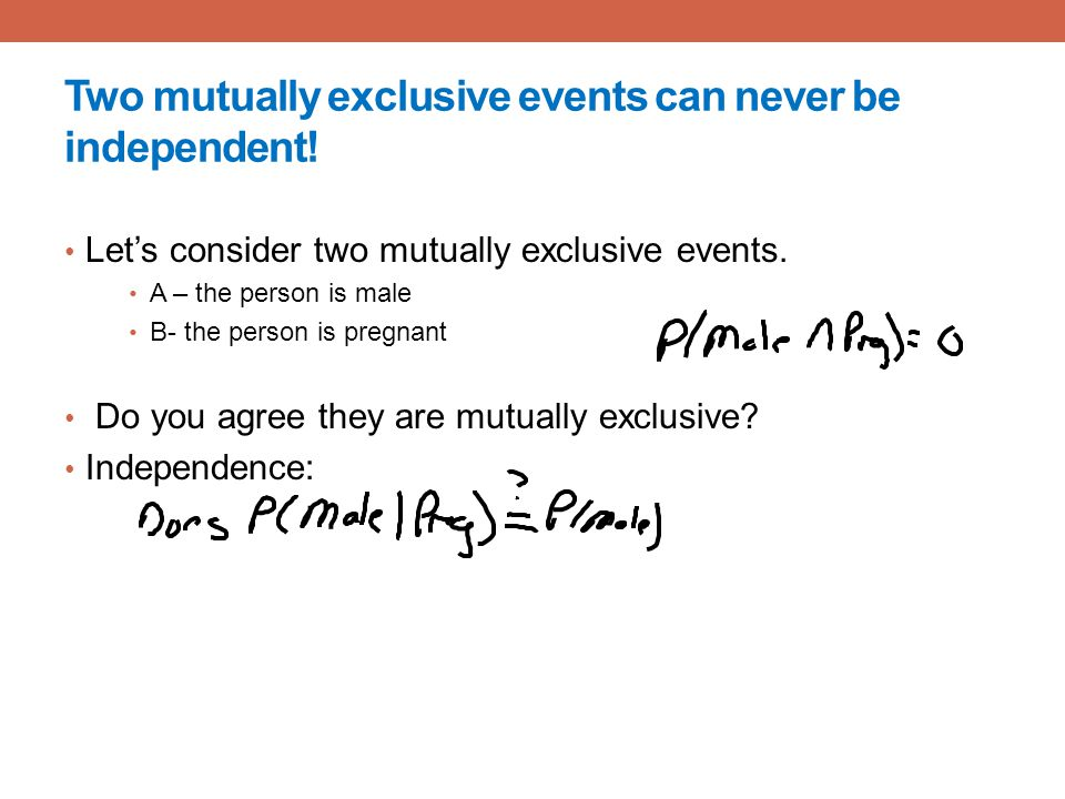 Two mutually exclusive events can never be independent!