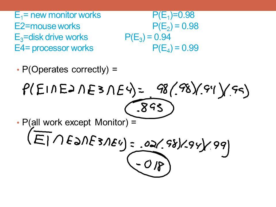 E1= new monitor works. P(E1)=0. 98 E2=mouse works. P(E2) = 0